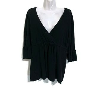 LOFT Woman's Blouse Long Sleeve Black Size Large